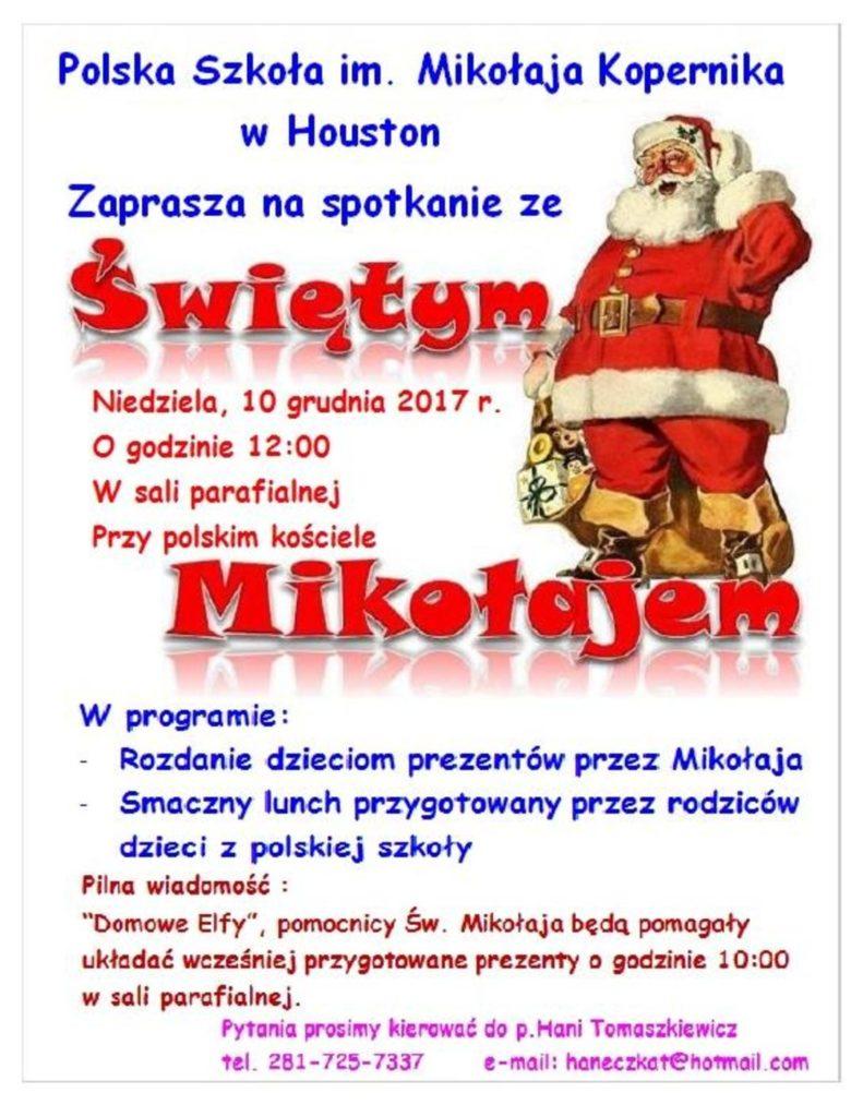 Zaproszenie na Mikolajki 2017_10 Grudnia